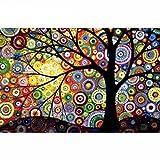 5D DIY Diamond Painting Tree Diamond Painting Cross Stitch Colorful Dream Tree Diamond Drill Rhinestone Home Decoration (Tamaño: 30x20CM)