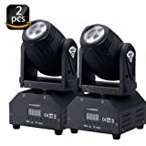 U`King Moving Head Light RGBW (4 in 1) Stage Light with DMX512 for Stage Lighting DJ Disco Club Party Dance Wedding Bar Theater Pub(2 PCS) (Color: Two Pcs)