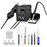 878D Rework Soldering Station, SMD Digital Display Soldering Iron and Hot Air Desoldering Gun Welding 2 in 1 Rework Station Kit with Heating Core Replacement,700W 480? (Color: sliver)