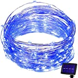 Hallomall LED Solar Powered String Lights, 2 Modes Steady on / Flash, 150 LED, 72 Feet, Blue