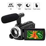 "4K Camcorder Video Camera WiFi Camcorder 48MP Ultra HD Digital Camera 3.0"" Touch Screen with External Microphone and Night Vision (Color: v1)"