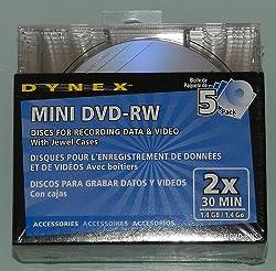 5 Pack Dynex Mini DVD-RW 1.4 GB Discs - 2 x 30 Min - DX-DVD-RW5