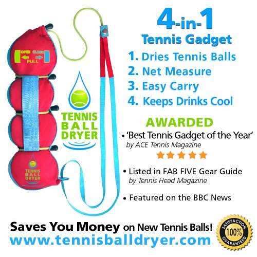 Tennis Ball Dryer - 4-in-1 Accessory - RED VERSION - Voted Best Tennis Gadget - Includes 4 Great Features in 1 Gadget. Great Tennis Gift for any Player