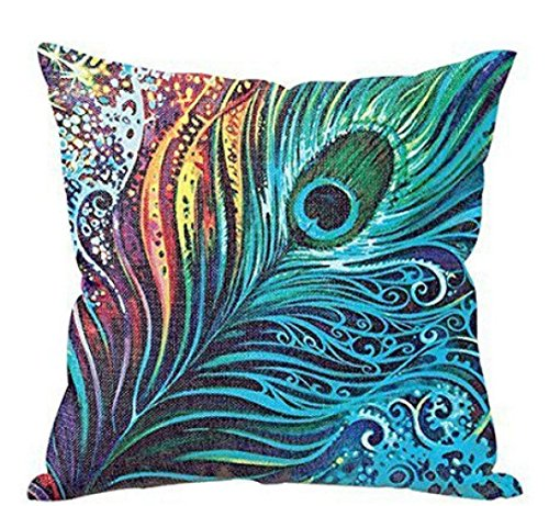 [Baishitop Colorful Peacock Feathers Pillow Case Cushion Covers Home Decor] (Dark Magician Costumes Pattern)