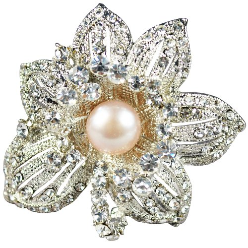 Crystal Pearl Brooch,Groom Mother Gifts- 8-9mm Light Purple Fresh Water Pearl Brooch With Crystal Inlay Alloy (Br0065)