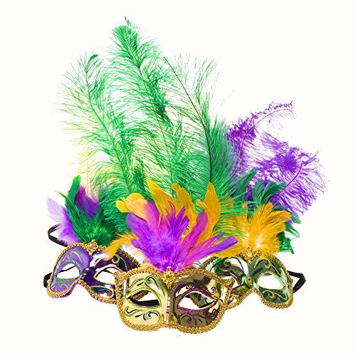 Metallic Mardi Gras Feather Mask
