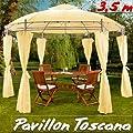 Pavillon 350 cm - Gartenzelt Gartenlaube Zelt in verschiedenen Farben von Deuba - Gartenmöbel von Du und Dein Garten