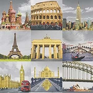 Teen Multicoloured famous world landmarks Wallpaper - - Amazon.com