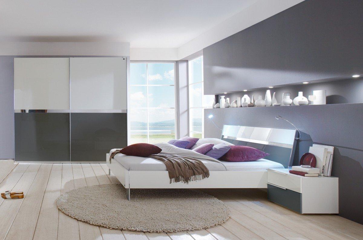 Dreams4Home Schlafzimmerkombination 'Kyra II', Schrank, Bett, 2 x Nachtschrank, Schlafzimmer komplett, weiß / grau, Liegefläche:140×200 cm günstig online kaufen