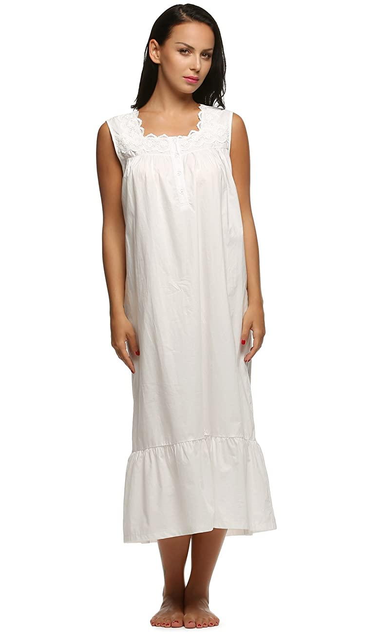 Ekouaer Womens Nightgown 100% Cotton Victorian Long Sleeveless Sleepwear S-XL 2
