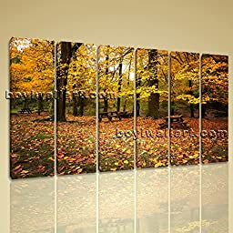 Large Wall Art Print On Canvas Home Decor Picture HD Autumn Tree Picture Golden 6 Panels Wall Art Inner Framed Ready To Hang by Bo Yi Gallery 64\