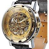 OUKU Hot!!!! Men's Fashion Luxury Semi-Mechanical Hollow Engraving Gold Dial Black PU Band Analog Wrist Watch Dress Watches Top Discount
