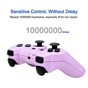 PS3 Controller Wireless Double Shock Gamepad for Playstation 3, Wireless PS3 Controller with Charging Cable (Purple) (Color: Purple no charging cable)