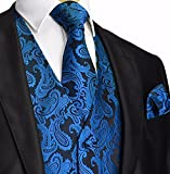 Mens 3pc Paisley Vest NeckTie Pocket Square Set For Suit or Tuxedo