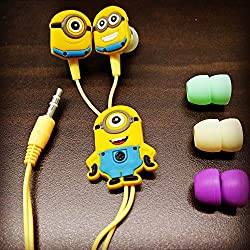 WIREALL MINIONS (MORE MINIONS.MORE DESPICABLE) In-Ear Earphone,Includes 3 Additional Earplug Covers - Great For Kids, Boys, Girls, Adults, Gifts Stereo Dynamic Wired Headphones.