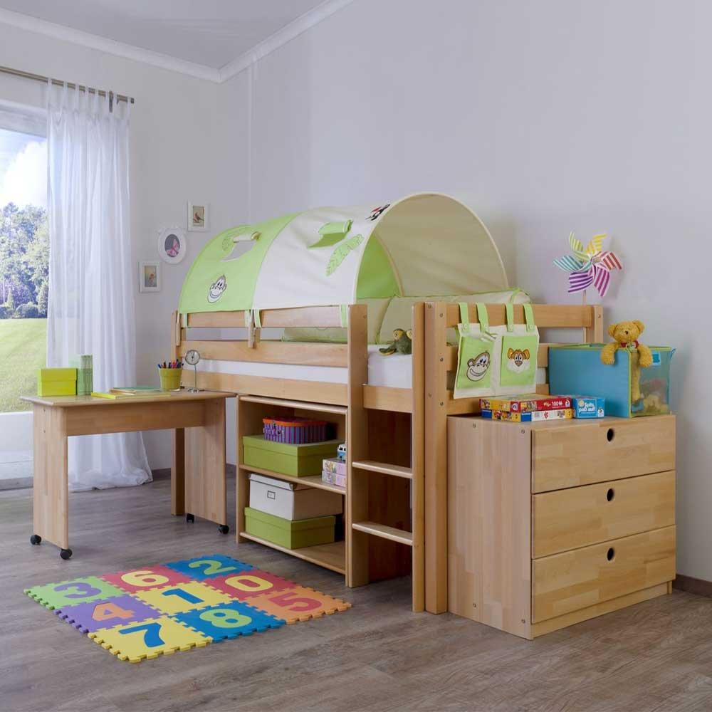 Massivholz Hochbett mit Schreibtisch und Kommode Buche Massivholz (5-teilig) Pharao24 günstig online kaufen