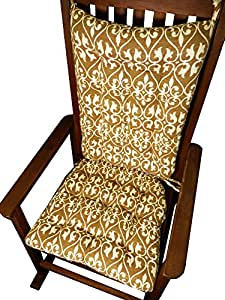 Tuscan Mocha Latte Baroque Fretwork Rocking Chair Cushion Set