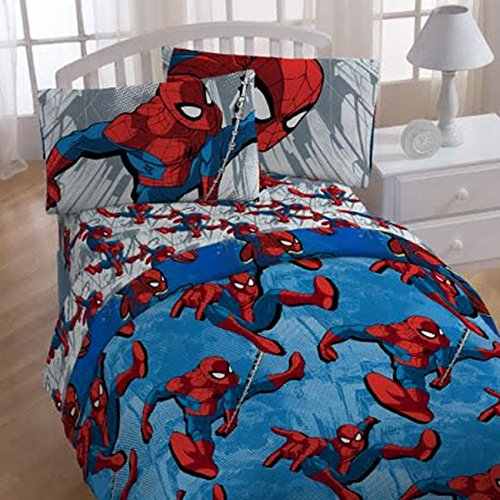 4pc Marvel Spiderman Twin Bedding Set City Graphic Comforter and Sheet Set