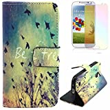 M-LV Samsung Galaxy S4 leather Case <Dandelion> Fashion Pattern Printing Wallet Flip Magnet Cards Slots Stand Leather Carry Case with Screen Protector and Cleaning Cloth - Best Reviews Guide