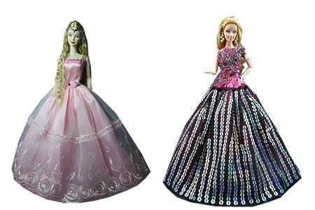 2 Packs étincelait complet paillettes Barbie Doll Doll Robes Vêtements