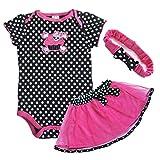 EFF Baby Mädchen 3tlg Set Strampler/Wickelbody Tütü Rock Bodysuit Kleid mit Stirnband 6-24M (6-9 Monate, #1)