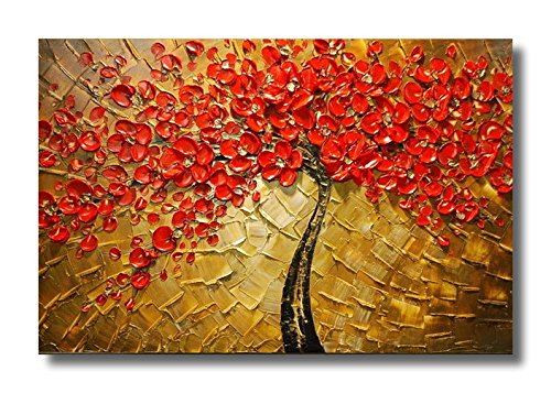 Wieco Art - Modern 100% Hand Painted Canvas painting Art Work for Wall Decor Home Decoration, Stretched and Framed Painting Artwork, Abstract Red Flower Oil Paintings on Canvas Wall Art Ready to Hang for Wall Decorations Home Decor diy beads painting flower cross stitch wall decoration