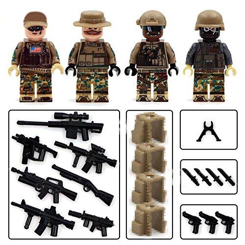 [4piece/set ArmyFigures Swat Mini Block Educational Toys DIY Building Blocks Brinks] (Hulkbuster Costume For Kids)