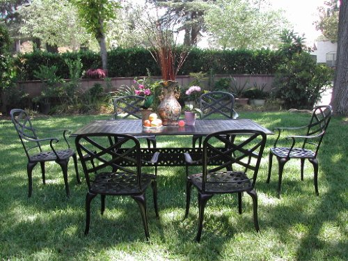 Patio Sets Clearance: CBM Outdoor Cast Aluminum Patio Furniture 7 Pc Dining Set E1 CBM1290 Promo