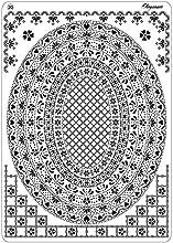 Pergamano Multi Grid 20 - Plantilla para grabar y perforar (cuadriculada), diseño de óvalo, color blanco