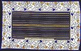 カンガ アフリカの布 花柄 『許し合って過ごしましょう』 (青×黄) ot-5