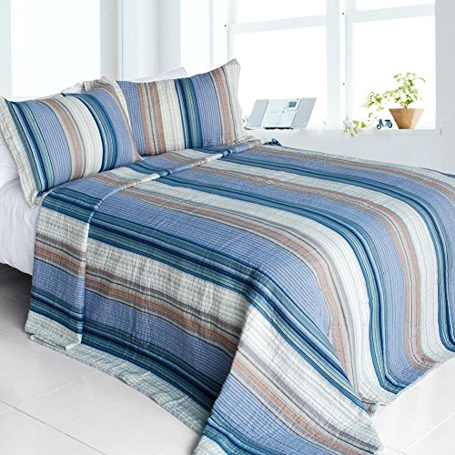 [Adonis] Cotton 3PC Vermicelli-Quilted Striped Printed Quilt Set (King Size)