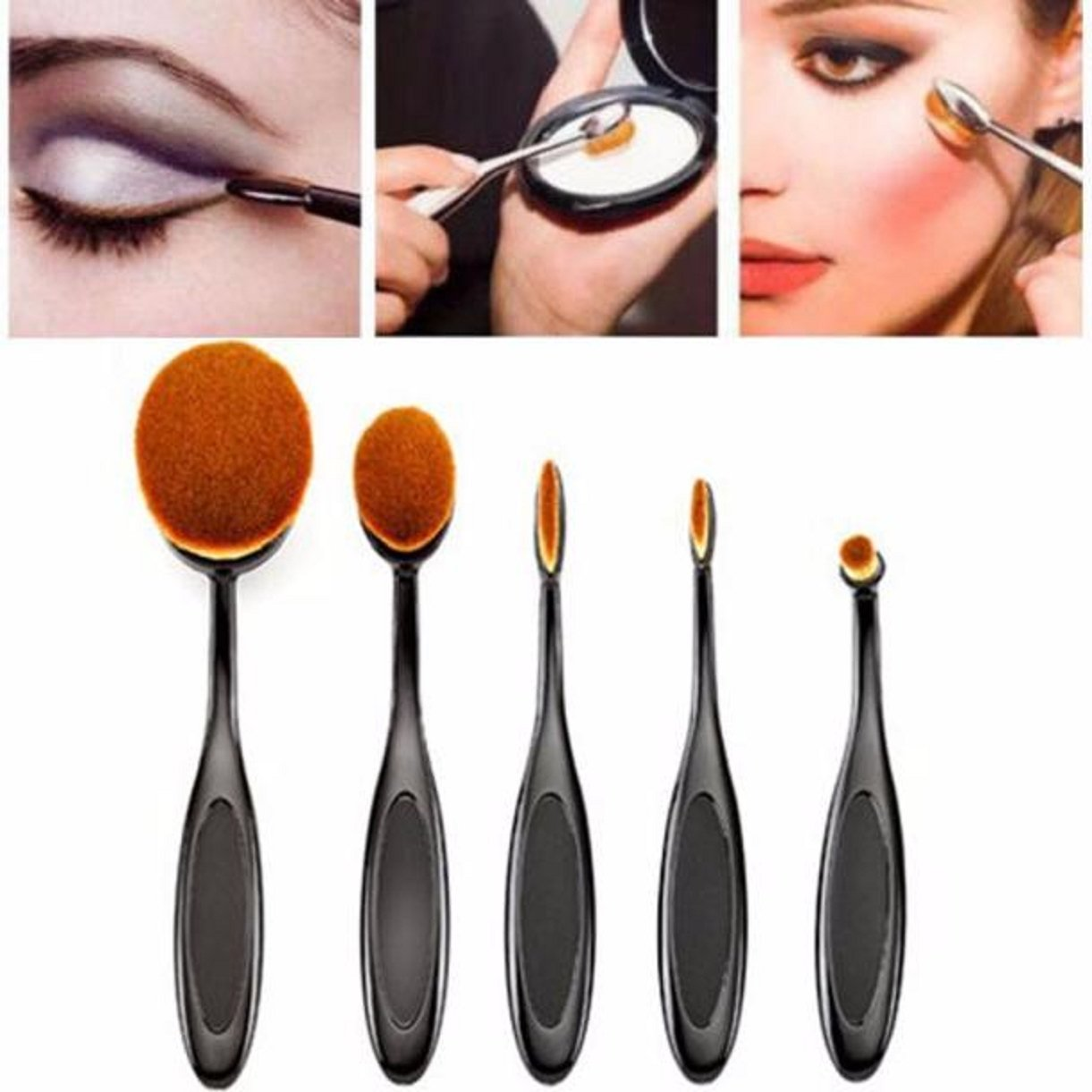 Lookatool 2016 High Quality 5pcs Soft Oval Foundation Makeup Brush Sets Powder Blusher Toothbrush Curve Cosmetic Makeup Brushes Tool (5PC Toothbrush Puff Brushes)