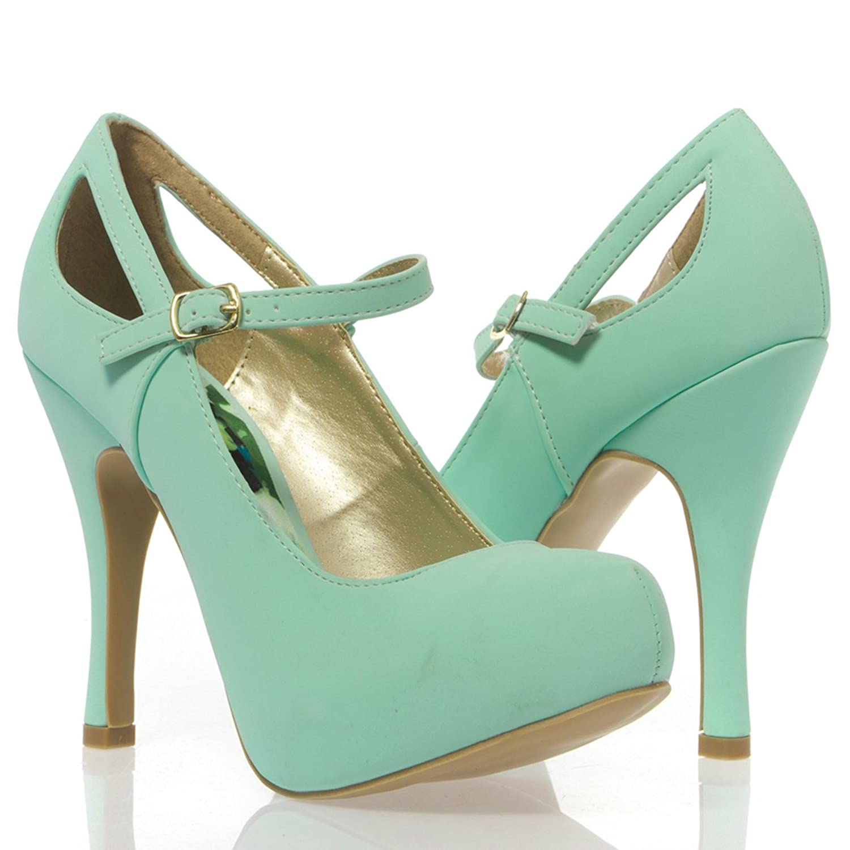 Фото V-Luxury Womens 10-TRENCH134 Closed Toe Mary Jane High Heel Pump Shoes, Mint Nubuck closed toe v cut chunky heels mauve