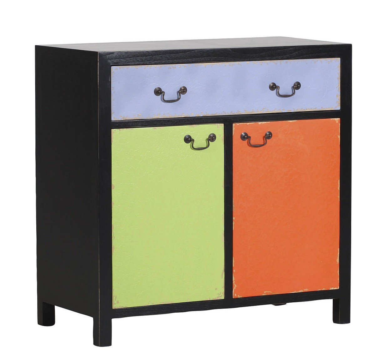 IOVIVO Kommode Smile mit 2 Türen und 1 Schublade, teilmassiv, Korpus schwarz