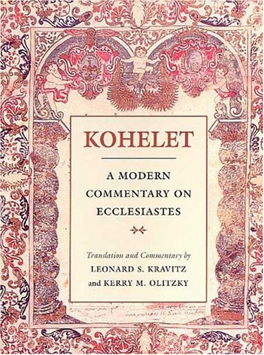 Kohelet A Modern Commentary on Ecclesiastes Modern Commentary On