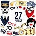 27 Piece Train Themed Photo Booth Props Kit - DIY Train Party Supplies for Kids Birthdays, Retirement Celebrations, Vintage Weddings, Engagement Parties & Special Events
