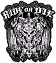 "Hot Leathers Ride Or Die Biker For Life Patch (11"" Width x 12"" Height)"
