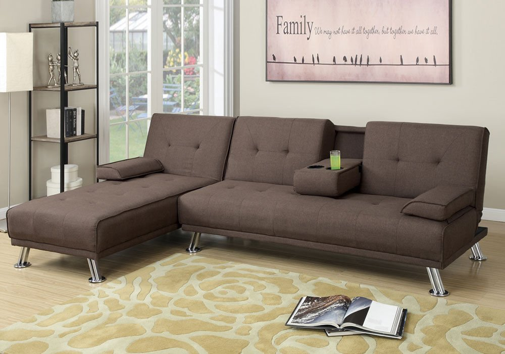 1PerfectChoiceAdjustable Sofa Bed Futon Chaise Lounge Brown Tufted Linen-Like Fabric Console
