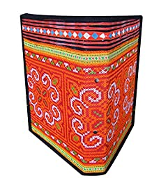 RaanPahMuang Thailand Hill Tribe Hand Embroidered Covered Ring Binder File Orange