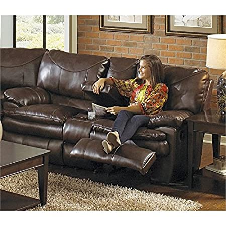 Catnapper Perez Reclining Console Leather Loveseat in Chestnut
