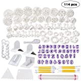 WELWEL Fondant Molds, 114 Cutters and Fondant Decorating Tools Set,Cake Sugarcraft Fondant Tools kit with Rolling Pin,Smoother Embosser Moulds (Color: White)