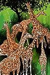 Maxwell Dickson Group of Giraffe Modern Animal Canvas Art
