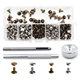 Bestgle 120 Sets Leather Rivets with Fixing Tool Kit, Double Cap Rivet Replacement Tubular Metal Studs Snap Fasten Kit for DIY Leather Jeans Clothing Craft Repairing Decoration (Silver,Bronze) (Color: Silver & Bronze)