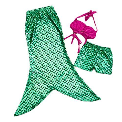 Highdas Little Girls 3 pezzi principessa Mermaid Tail Balneabile Bikini Swimwear 150CM