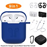 AirPods Case, Rockindeer 9 in 1 AirPods Accessories Set Protective Silicone Cover Skin Compatible Apple AirPods Charging Case with Watch Band Holder/Ear Hook/Keychain/Strap/Carrying Box (Navy Blue) (Color: Navy Blue)