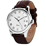 Mens Quartz Wrist Watch, Roman Numeral Business Casual Fashion Leather Watches with Classic Calendar Date Window Waterproof and 30M PU Strap (Color: Brown)