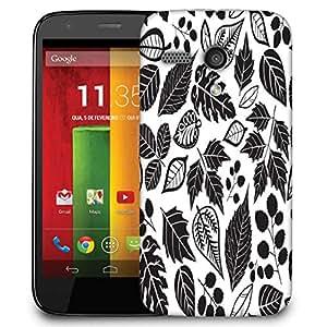 Snoogg Black Leaves Designer Protective Phone Back Case Cover For Motorola G / Moto G