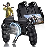 EMISH Mobile Game Controller Gamepad Mobile Gaming Trigger Joystick Metal L1 R1 Button for PUBG/Rules of Survival (Black) (Color: Black)