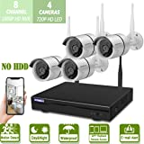 Home Security Camera System Wireless Outdoor,OHWOAI 8 Channel 1080P WiFi NVR, 4pcs 720P HD IP Security Surveillance Home Cameras(No Hard Drive),House CCTV Camera System,Night Vision,Easy Remote View. (Color: WHITE 8 Channel 1080P NVR+4pcs 720P cameras)