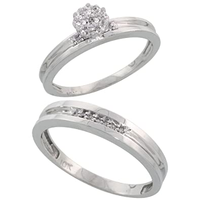 14ct White Gold 2-Piece Diamond Ring Set, 3.5mm Engagement Ring & 4mm Man's Wedding Band